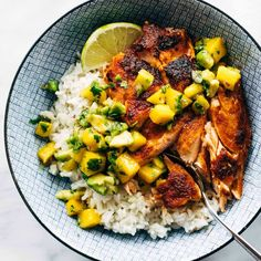 BBQ Salmon Bowls with Mango Avocado Salsa Recipe - Pinch of Yum