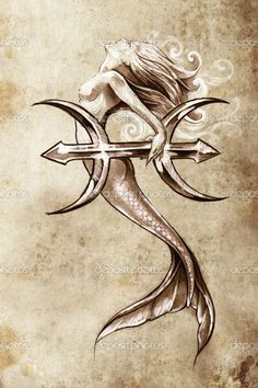 68 Ideas for tattoo mermaid art pisces Trendy Tattoos, New Tattoos, Small Tattoos, Body Art Tattoos, Tattoo Art, Tatoos, Sketch Tattoo, Mermaid Drawings, Mermaid Tattoos