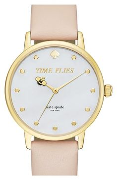 kate spade new york 'metro - honeybee' leather strap watch, 34mm available at #Nordstrom