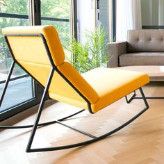 GT Rocker Contemporary Lounge Chair in Laurentian Citrine Industrial Style Furniture Yellow Rocker By Gus Modern Ikea Furniture, Unique Furniture, Furniture Plans, Rustic Furniture, Contemporary Furniture, Vintage Furniture, Furniture Design, Contemporary Lounge, Furniture Stores