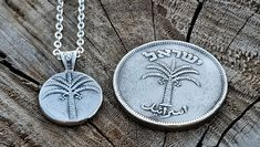Biblical Palm Tree-Such Ancient Coin Were Discovered in Jerusalem (See Second Image), Bible Pendant, Bible Jewelry, Coin Pendant, Coins Pinterest Diy, Coin Pendant, Palm Trees, Coins, Handmade Gifts, Palm Plants, Kid Craft Gifts, Coining, Hand Made Gifts