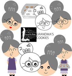 This download includes all the images seen in the thumbnail in high resolution in color and B&W. All 14 images come in png formats.You will receive these images in a zip file. Grandma standing with apron, grandma smiling with glasses, grandmas open mouth smile, grandma smiling with no glasses, grandma with cookie tray, cookie tray.This item is great for:Lesson plans, teaching resources, projects, scrapbooking, party decorations, packaging, tags, label stickers, collage sheets, decals, car...