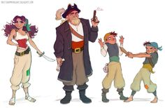Pirate Crew Character Design by Brittany Myers Character Concept, Character Art, Concept Art, Character Reference, Drawing Reference, Pirate Art, Pirate Theme, Theme Anime, Character Design References