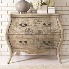 The epitome of romantic design, this Hidden Treasures Script Bombe Chest by Hammary will make a lovely addition in your foyer, living room, bedroom or four season porch. The bombe silhouette and curved apron creates a timeless, feminine feel that will bri Upcycled Furniture, Shabby Chic Furniture, Furniture Projects, Furniture Makeover, Painted Furniture, Diy Furniture, Bedroom Furniture, Furniture Design, Furniture Dolly