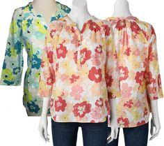 Swiss Dot Henley Top Croft & Barrow Women's Size L Floral Blue Print NWT #CroftBarrow #Blouse #Casual