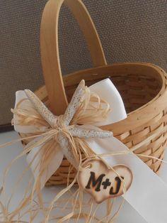 Flower Girl Basket / Beach Themed Wedding Basket / by YesMoreFunk, $18.00