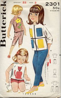 Butterick 2301 1960s Mondrian Style Girls Pullover Top Pants Shorts Capris with Applique Patterns toddlers vintage sewing pattern by mbchills
