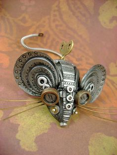 Squ33x - Mechanical Mouse - Steampunk Industrial Polymer Clay - Sculpture…