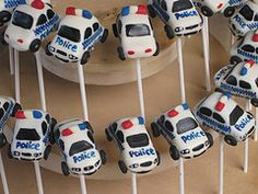 Police Cars! Love these! Police Car Cakes, Cars Cake Pops, Cop Party, Cars Birthday Parties, Cute Cakes, Creative Cakes, Amazing Cakes, Eat Cake, Police Wedding