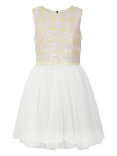 Girl`s sequin daisy and mesh dress