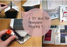 5 DIY Ideas For Newspaper Recycling! Newspaper Bags, Gift Wrapping Paper, School Projects, Diy Ideas, Recycling, Great Gifts, Kids, Children, Boys