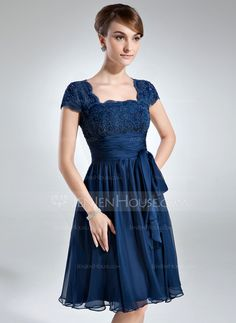 A-Line/Princess Square Neckline Knee-Length Chiffon Lace Mother of the Bride Dress With Ruffle Bow(s) (008006166) - JenJenHouse