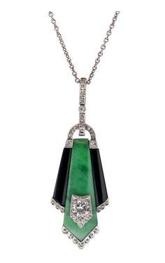 Art Deco Jade Onyx Diamond & Platinum Pendant  circa 1930