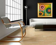 A great modern look - Add pops of color to your room with fun, vibrant art! Hotels Room, Room Decor, Decor, Home Trends, Custom Framing, Custom Framed Art, Black Walls, Home Decor, Room