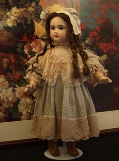 Beautifully Made Vintage Empire Waist Dress and Matching Bonnet-A Stunning Costume for the Antique Doll