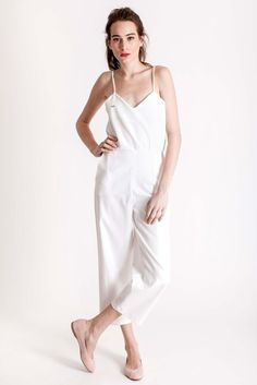White long jumpsuit made of cotton by designer brand Dott. Long Jumpsuits, White Jumpsuit, Cotton Style, Piece Of Clothing, Slow Fashion, Night Out, Feminine, Spring Summer