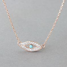 Rose Gold Evil Eye Necklace from Kellinsilver.com – turquoise evil eye necklace, evil eye jewelry