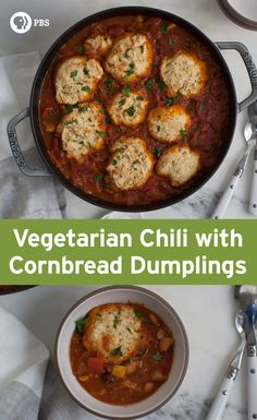 Vegetarian Chili with Cornbread Dumplings is a weeknight chili that ...