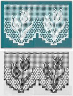 Afbeeldingsresultaat voor cortinas tejidas a crochet Filet Crochet Charts, Crochet Borders, Crochet Motif, Crochet Designs, Crochet Doilies, Crochet Curtain Pattern, Crochet Curtains, Crochet Tablecloth, Doily Patterns
