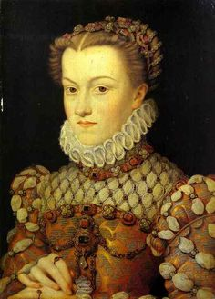 Portrait of Elisabeth of Austria, Queen of France as wife of King Charles IX by François Clouet (French, 1510-1572), 1571, Louvre.  Beautiful hairstyle, beautiful dress