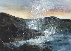 SEASCAPE  An Original  Watercolor  The Sound of by LindaHenryArt