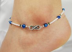 Anklet, Ankle Bracelet, Silver Metal Infinity Connector, Royal Blue Freshwater Pearls, Green Accents, White, Beaded, Wedding, Beach Vacation on Etsy, $15.66 CAD