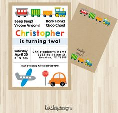 Planes Trains Automobiles Party, Planes Trains Automobiles, Transportation Birthday, Transportation Invitation, Second Birthday  Getyours now for $6.00