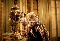 Woman in Baroque Style House Royalty Free Stock Photo
