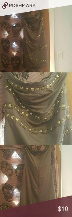 Dark green strapless forever 21 dress Dark green strapless dress with gold studs Forever 21 Dresses Strapless