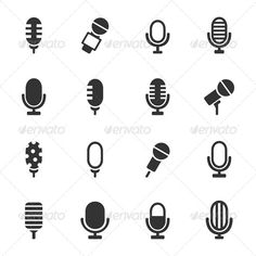 Since I\'ll be working with podcasts, microphones are kind of a tell for that space. & these are adorable! Microphone Icons #GraphicRiver