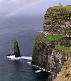 Rainbow over the Cliffs of Moher, County Clare, Ireland.
