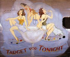 """""""Target For Tonight"""" from the Confederate Air Force Collection.  This collection of nose art panels came to the CAF from Minot Pratt, the general manager of the company that was scrapping planes at the boneyard at Walnut Ridge, Arkansas.  He had ordered his men to cut out and save the most interesting nose art, which he was supposedly going to put up as a fence around his property.  This never happened and he donated the pieces to the CAF in the 1960's."""