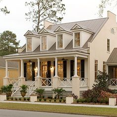 17 Pretty House Plans with Porches Southern homes are famous for their relaxing and beautiful front porches. Check out this Eastover Cottage along with some of Southern Living's best house plans with porches here. House Plans, Cottage Plan, House Exterior, Southern Homes, Porch House Plans, Coastal Homes, Pretty House, Coastal Cottage, Eastover