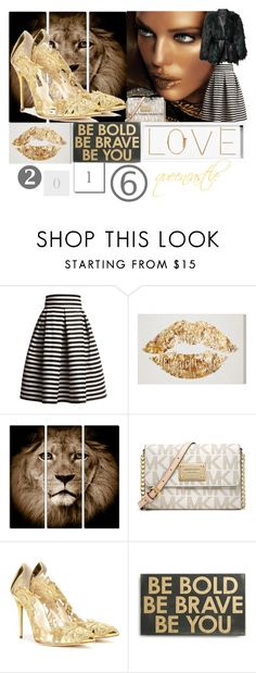 """Golden Year"" by queencastle ❤ liked on Polyvore featuring Rumour London, Michael Kors, Oscar de la Renta, Primitives By Kathy, Oliver Gal Artist Co., gold, newlook and newyear"