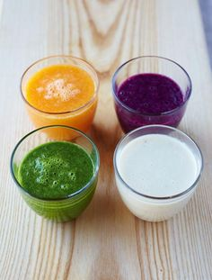 Super smoothies  A deliciously cold, quick smoothie is one of my favourite ways to start the day – here are four of my favourite combos.