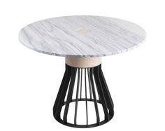 Mewoma Table - Ø 120 cm / Marble, oak & metal by La Chance