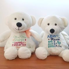 Personalised baby gift embroidered teddy bear personalised plush bridal bling australia wedding teddy bear birth gift personalised birth gift wedding negle Gallery