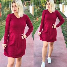 Rochii de iarna tricotate Dresses With Sleeves, Long Sleeve, Sweaters, Shopping, Fashion, Tricot, Moda, Gowns With Sleeves, Sweater