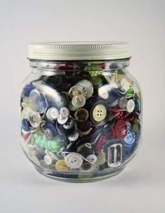 Large Glass Jar of Vintage Buttons by TurtleHillShop on Etsy, $24.00