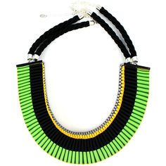 Jennifer Loiselle The Clemence woven necklace in spring green / blac ($141) ❤ liked on Polyvore