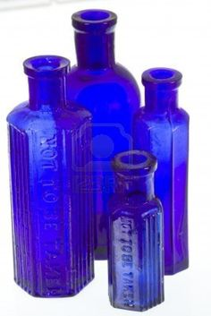 Picture of Old Blue Glass Medicine Bottles stock photo images and stock photogra. Old Medicine Bottles, Antique Glass Bottles, Apothecary Bottles, Antique Glassware, Vintage Bottles, Bottles And Jars, Glass Jars, Perfume Bottles, Vintage Perfume