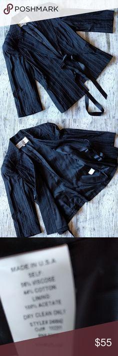 Trina Turk Black textured stripe blazer Trina Turk  size 8  black textured stripe Blazer  3/4 sleeve  excellent condition  fully lined Trina Turk Jackets & Coats Blazers