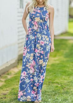 Floral O-Neck Sleeveless Maxi Dress #floral #clothes #outfit  #shopping