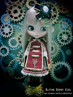 Blythe gothic red royal military steam punk by BlytheBerryGirl