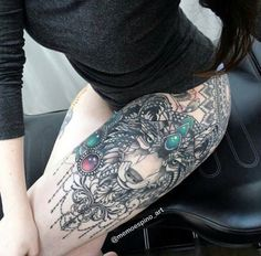 Wolf tattoo, girly boho tribal
