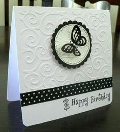 Pintrest Handmade Birthday Card Ideas | cooked up this card last night....the black ribbon and the tiny ...