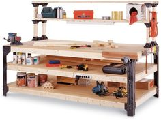 2x4basics 14429 Workbench and Shelving Storage System with Hooks and Clamps 2x4 Basics http://www.amazon.com/dp/B00006RGKY/ref=cm_sw_r_pi_dp_eNcTwb0N58B85