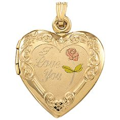 """21821 Tri-Color Heart Locket with """"I Love You"""" 27.50 x 19.25mm.  Commemorate that special occasion: wedding, birth, baptism, communion, with that perfect locket that will carry the pictures of her loved ones close to her heart."""
