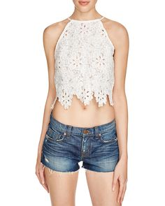 Lucy Paris Floral Lace Crop Top