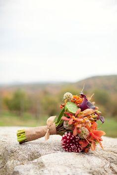 Photo: Matt and Ash Photograohy #wedding #bouquet #orange #green #plum #texture #flowers #seacoast #newhampshire #newengland